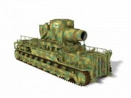 WW2 German Karl mortar artillery 3d model preview