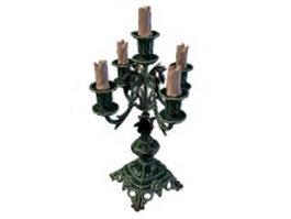 Antique bronze candelabra 3d model preview