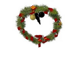 Decorated Christmas wreaths 3d preview