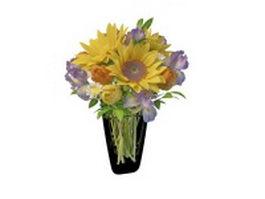 Fresh flower in glass vase 3d preview