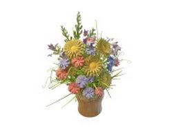 Arrange flowers in vase 3d preview