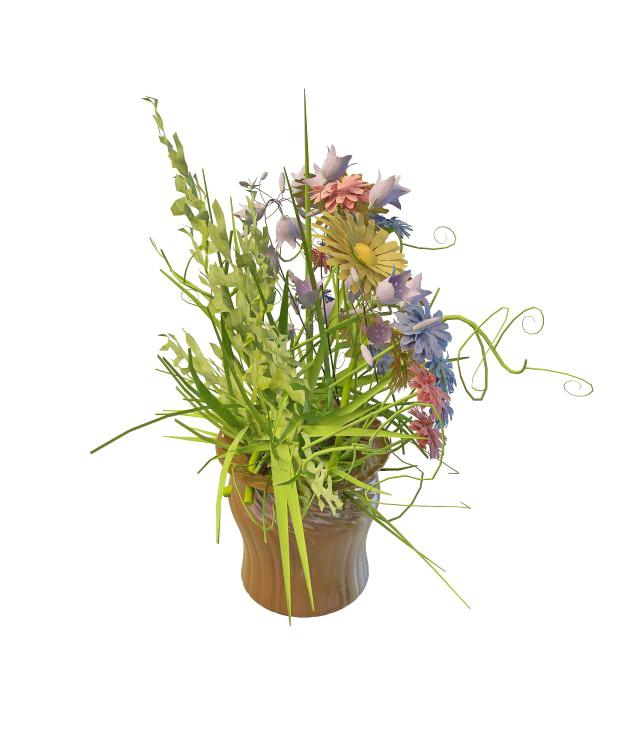 Arrange flowers in vase 3d rendering