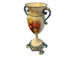Vintage porcelain trophy vase 3d model preview