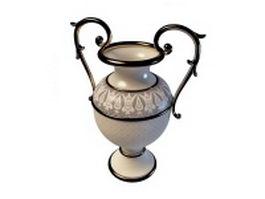 Vintage ceramic flower vase 3d model preview