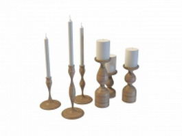 Wooden candle holders set 3d model preview
