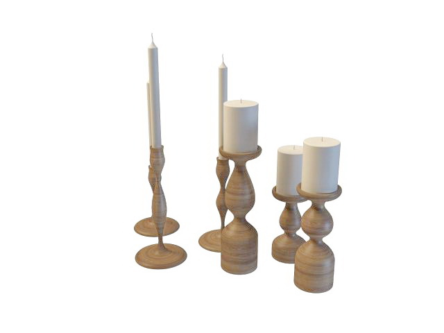 Wooden candle holders set 3d rendering