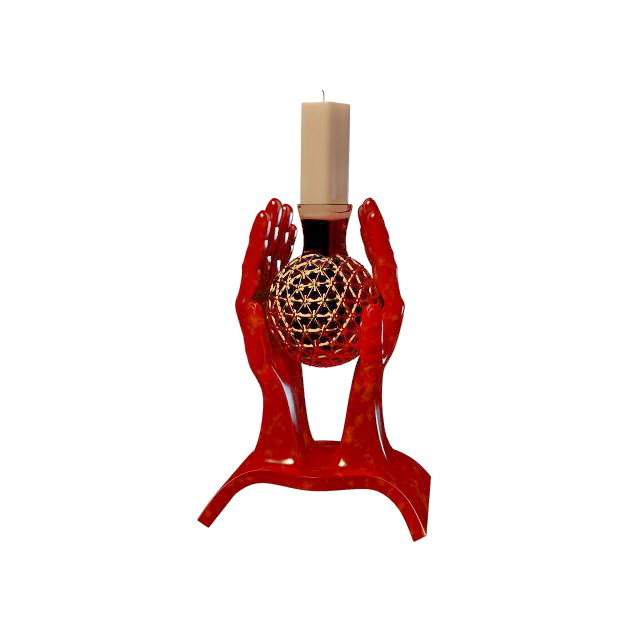 Hand candle holder 3d rendering