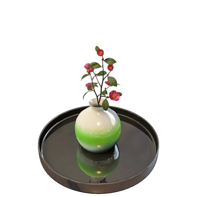 Ceramic flower vase with tray 3d rendering