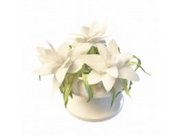Lily flowers in vase 3d preview