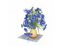 Blue flowers in vase 3d preview