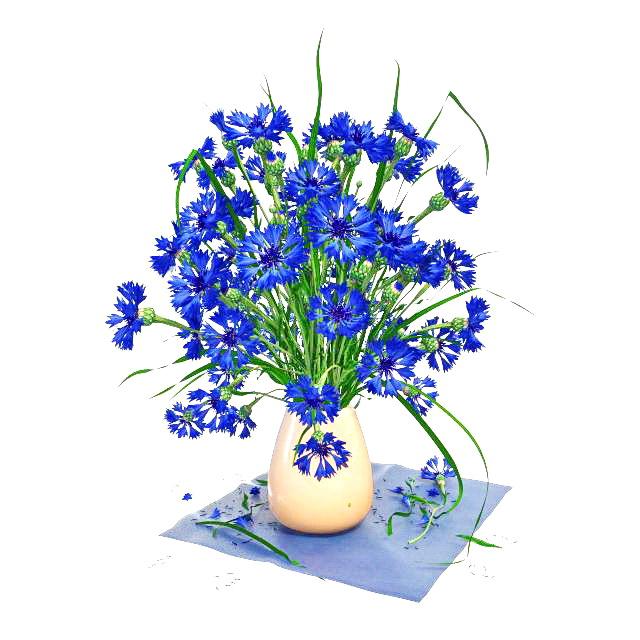 Blue flowers in vase 3d rendering