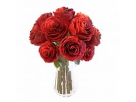 Red roses flower in vase 3d preview