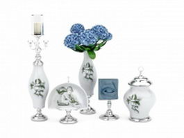 Porcelain vase set 3d model preview