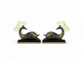 Black reindeer decorations 3d preview