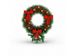 Christmas holly wreath 3d preview