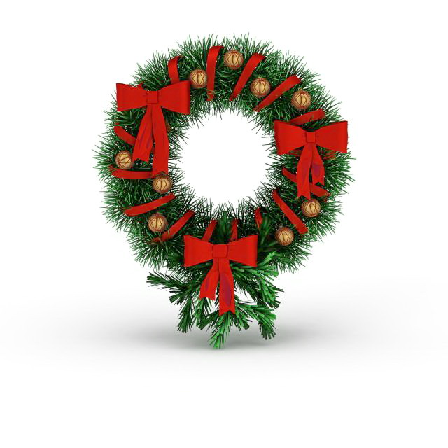 Christmas holly wreath 3d rendering