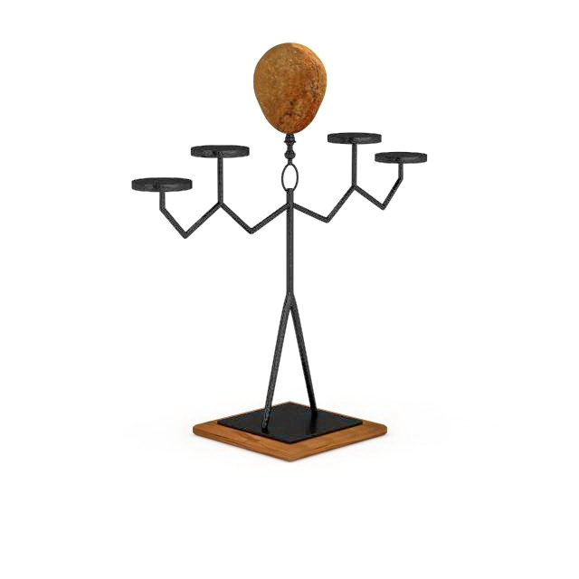 Iron art candle holder 3d rendering