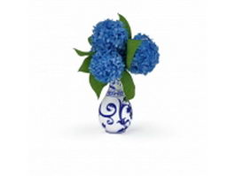 Blue white vase with flowers 3d preview