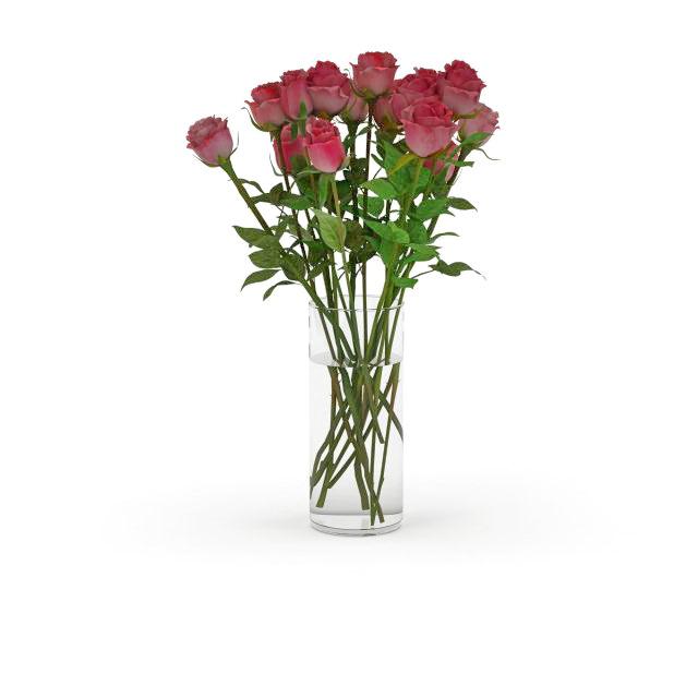 Roses in glass vase 3d rendering