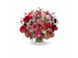 Bouquet of flowers in glass vase 3d preview