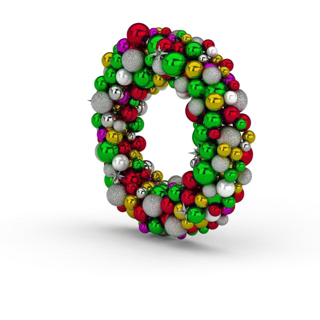 Christmas ball wreath 3d rendering
