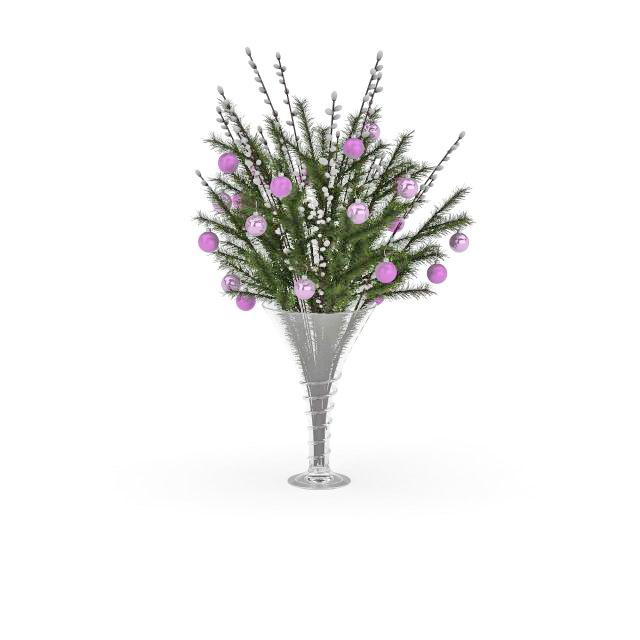 Christmas decoration vase 3d rendering