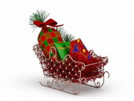 Christmas sleigh with gifts 3d model preview