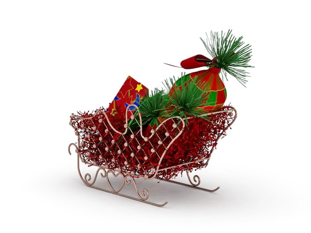 Christmas sleigh with gifts 3d rendering