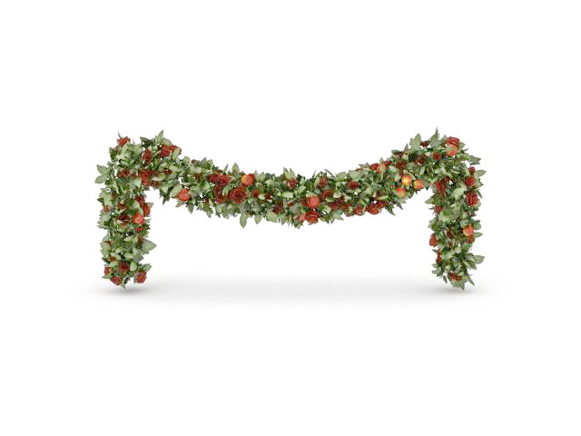 Christmas plant chain decoration 3d rendering