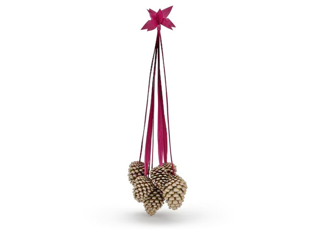 Hanging pine cone decoration 3d rendering