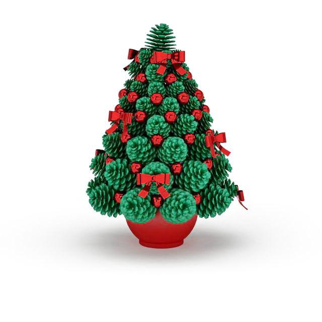 Artificial Christmas tree in pot 3d rendering