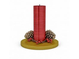 Christmas candle and pine cone 3d model preview