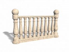 Cream marble balustrade railings 3d preview