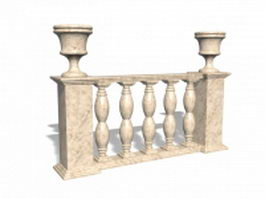 Marble railing with vase 3d preview