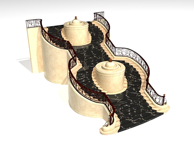 Fountain stairs 3d rendering
