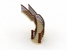 Home stairs with wood handrail 3d preview