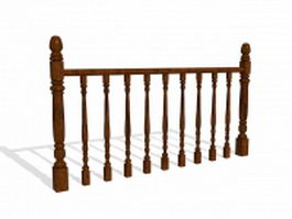 Wooden balustrades 3d preview
