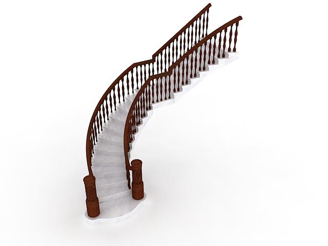 Marble stairs wood railings 3d rendering