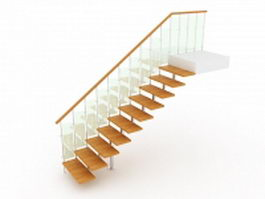 Open staircase with glass railing 3d preview