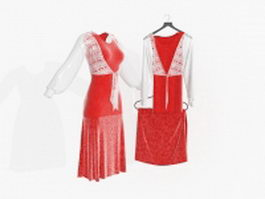 Chinese wedding dress 3d preview