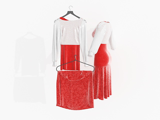 Chinese wedding dress 3d rendering