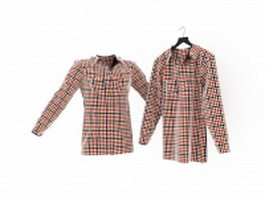 Long sleeve plaid shirt 3d preview