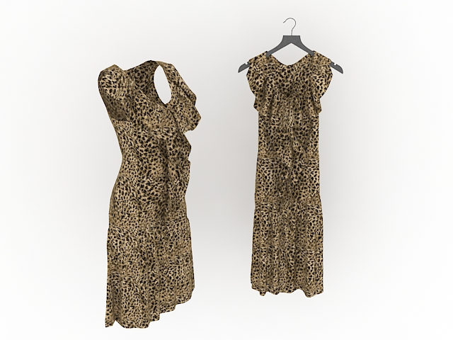 Leopard print dresses for women 3d rendering
