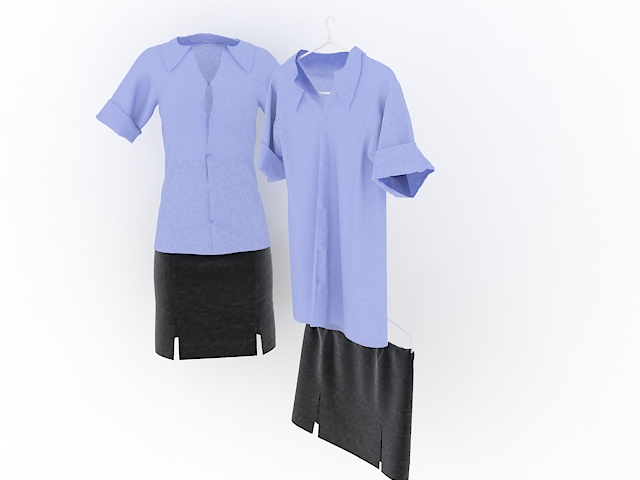 Formal blouses and skirts 3d rendering
