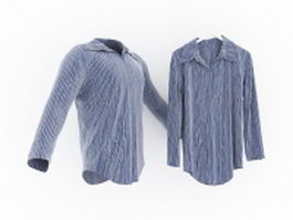 Men's blue and white striped shirt 3d preview