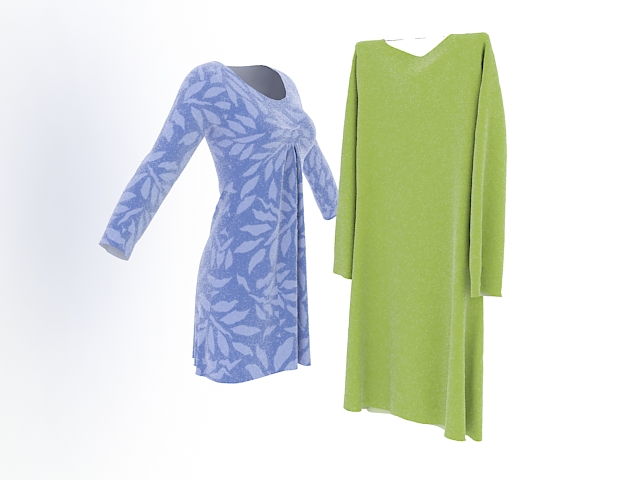 Blue and green dresses 3d rendering
