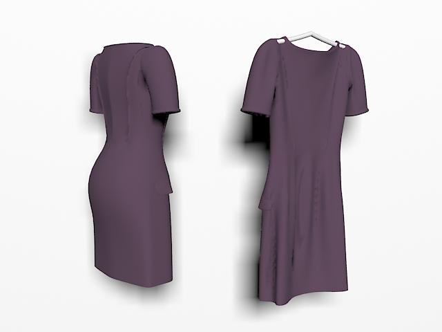 Purple workwear dresses 3d rendering