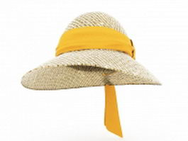 Straw cloche hat 3d model preview