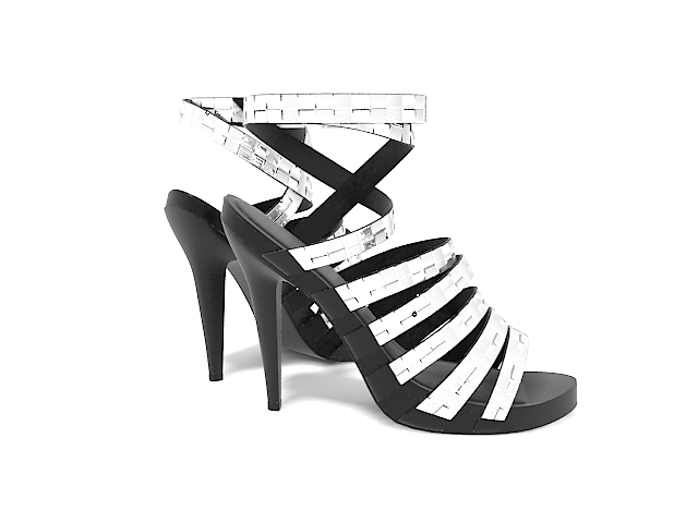 Silver high heeled sandals 3d rendering