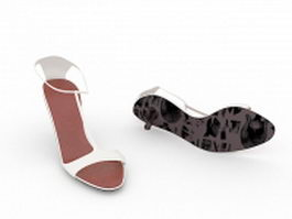 White leather sandals 3d preview